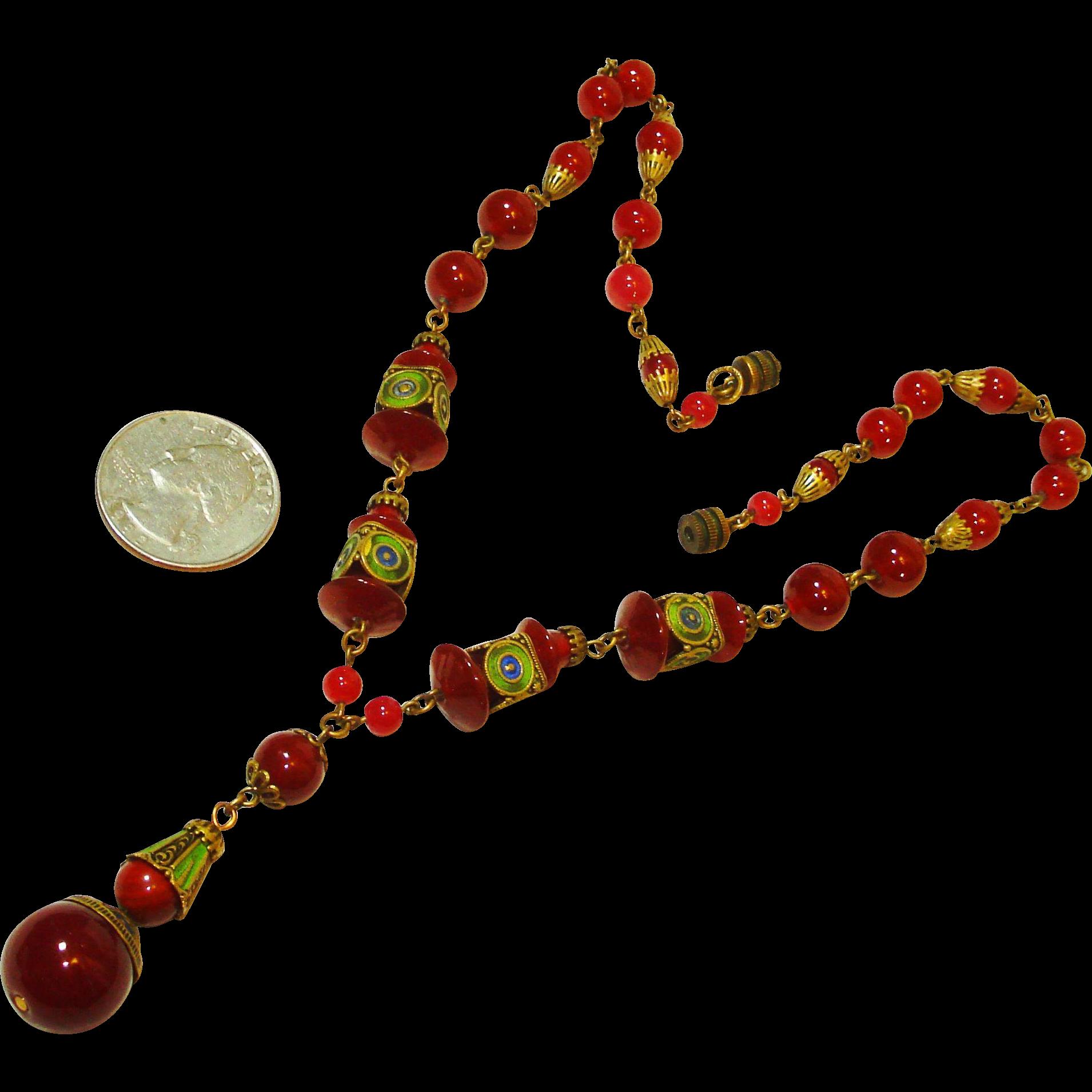 Fab Czech Enamel Carnelian Art Glass SIGNED Necklace