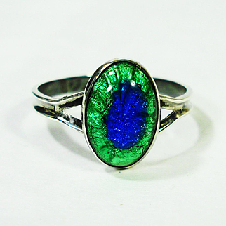 Arts & Crafts Sterling Silver Peacock Eye Ring Sz 10
