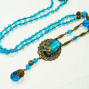 Brilliant Edwardian Czech Glass Dragon Necklace OLD