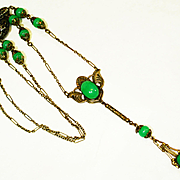 Art Nouveau BF&Co Jadite Glass Flapper Necklace