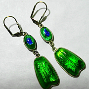 Sterling Foiled Peacock Eye Art Glass Earrings
