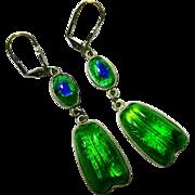 Sterling Foiled Peacock Eye Art Glass Earrings