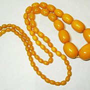 LG Art Deco Amber Egg Yolk Bakelite Bead Necklace