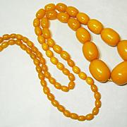 LG Art Deco Amber Egg Yolk Bakelite Bead Necklace