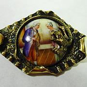 Victorian Czech Dragon Porcelain Brooch
