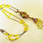 1920s Czech Enamel Jeweled Swirled Art Glass Negligee Necklace