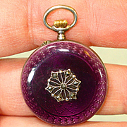 RARE Gold Face Purple Enamel Sterling Enamel Antique Lady's Lapel Pocket Watch