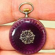 RARE Gold Face Purple Enamel Sterling Enamel Antique Lady's Lapel Pocket Watch