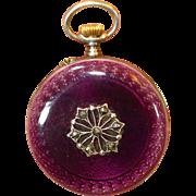 RARE Gold Face Purple Enamel Sterling Enamel Antique Lady's Lapel Pocket Watch - Red Tag Sale Item