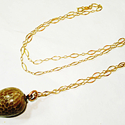 Victorian Snake Egg Charm Fob 14k Necklace RARE!