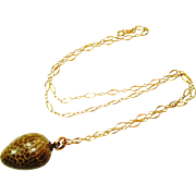 Victorian Snake Egg Charm Fob Necklace RARE!
