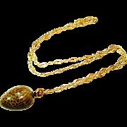 Victorian Snake Egg Charm Fob 14k Necklace RARE!