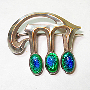Arabic Victorian Peacock Eye Foiled Art Glass 3 Stone Pin