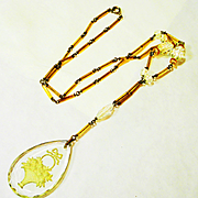 Exquisite Edwardian Etched Crystal Czech Glass Necklace