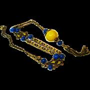 Bold Deco Enamel Art Glass Flapper Necklace