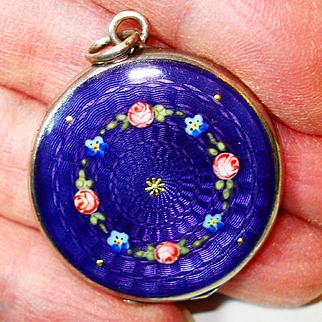 Dark Purple 935 Enamel Roses Forget Me Nots Locket