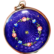Dark Purple 935 Enamel Roses Forget Me Nots Locket