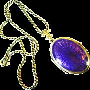 LG Violet 935 Double Sided Guilloche Enamel Locket Necklace