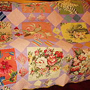 RARE 1920s 30s Vintage Cabbage Roses Quilt BEAUTIFUL!