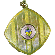 FMco Enamel Pansy Chatelaine Art Deco Compact