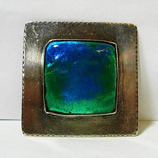 Arts & Crafts Sterling Peacock Eye Enamel Glass Brooch
