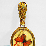 Victorian Beveled Flirting Chatelaine Mirror with Butterfly