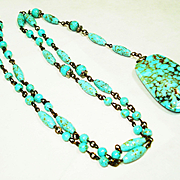 Signed Czech Turquoise Art Glass Sautoir Necklace