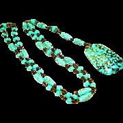 Signed Czech Turquoise Art Glass Sautoir Necklace