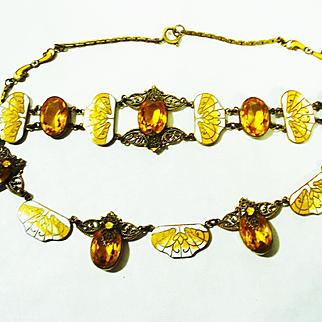 Czech Enamel Stained Glass Window Necklace & Bracelet Set