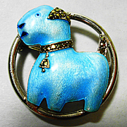 Deco Watch Pin Cutest Enamel Sterling Marcasite Terrier Dog Brooch