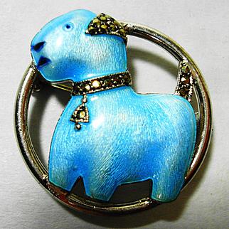 Deco Watch Pin Cutest Enamel Sterling Marcasite Terrier Dog Brooch