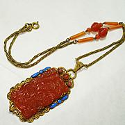 Signed Czech Neiger Enamel Carnelian Glass Necklace