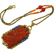 Signed Czech Neiger Enamel Carnelian Glass Necklace