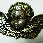 Sterling  Angel Cherub w  Coral  Necklace Vintage Guardian Christmas Angel