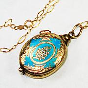 Rare Victorian Magnifier Locket Pendant 14K Gold Chain Robin Egg Blue Enamel