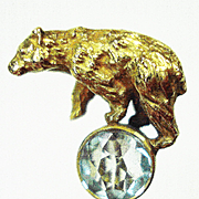 14kt Bear on a Ball Victorian Stickpin w Box
