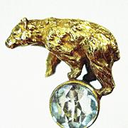 14kt Bear on a Ball Victorian Stickpin w Box