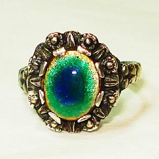 Peacock Eye Enamel Sterling Silver Arts & Crafts Ring Size 81/2
