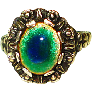 Peacock Eye Enamel Sterling Silver Arts & Crafts Ring Size 81/2