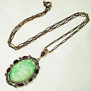RARE Signed Czech Apple Jade Enamel Garnet Marcasite Sterling Silver Pendant Necklace