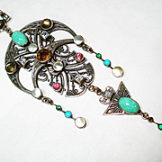 Antique Jeweled Jugendstil Lavalier Necklace