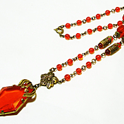 Striking Czech Rare Orange Glass Lavalier Necklace