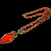 Striking Czech Rare Orange Glass Lavalier Necklace