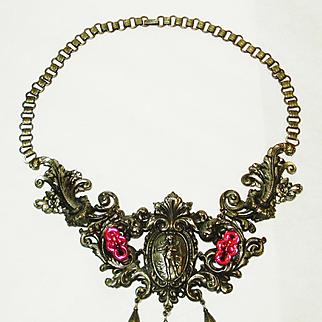 RARE B. Blumenthal & Co Victorian Revival Cherub Necklace