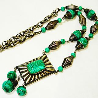 Art Deco Malachite Czech Glass Necklace