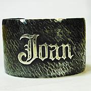 Wide Sterling Silver Hammered Arts & Crafts Bracelet