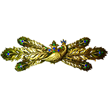 Huge Victorian Jeweled Figural Peacock Lady's Belt Buckle