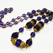 Elegant Czech Amethyst Glass Filigree Necklace