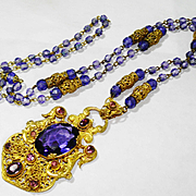 Old Czech Ornate Neiger Filigree Amethyst Glass Necklace