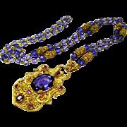 Old Czech Ornate Neiger Filigree Amethyst Glass Necklace